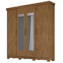 Guarda Roupa Casal 4 Portas e Espelho Ouro Preto Castanho Wood - Moval -