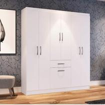 Guarda Roupa Casal 6 Portas 1 Porta Basculante 1 Gaveta Dallas Espresso Móveis Branco -