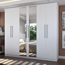 Guarda-Roupa Casal 6 Portas Com 2 Espelhos 100% MDF Branco Foscarini -