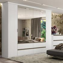 Guarda-Roupa Casal 6 Portas com Espelho 4 Gavetas THB Nobre Glass - Branco Sensitive -