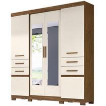 Guarda Roupa Casal 6 Portas e Espelho Aracaju Castanho Wood/Baunilha - Moval -