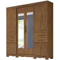 Guarda Roupa Casal 6 Portas e Espelho Aracaju Castanho Wood - Moval -