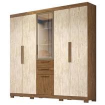 Guarda Roupa Casal 6 Portas e Espelho Imperial Castanho/Avelã Wood - Moval -