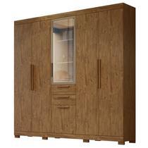 Guarda Roupa Casal 6 Portas e Espelho Imperial Castanho Wood - Moval -