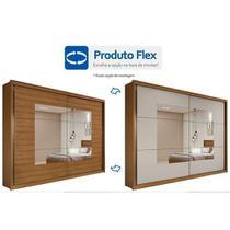Guarda Roupa Casal 8 Espelhos 2 Portas de Correr 6 Gavetas Toronto Plus Móveis Lopas Rovere off white -