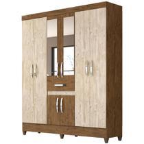 Guarda Roupa Casal 8 Portas 1 Gaveta com Espelho Portugal Avelã Castanho Wood - Vee Decor - Moval