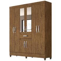Guarda Roupa Casal 8 Portas 1 Gaveta com Espelho Portugal Castanho Wood - Vee Decor - Moval