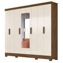Guarda Roupa Casal 8 Portas 4 Gavetas com Espelho Diplomata Castanho Wood Baunilha - Vee Decor - Moval