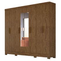 Guarda Roupa Casal 8 Portas 4 Gavetas com Espelho Diplomata Castanho Wood - Vee Decor - Moval