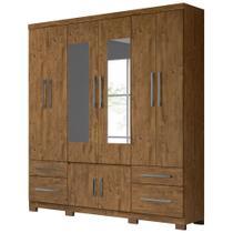 Guarda Roupa Casal 8 Portas 4 Gavetas com Espelho Porto Plus Castanho Wood - Vee Decor - Moval