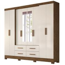 Guarda Roupa Casal 8 Portas 4 Gavetas com Espelho San Lorenzo Castanho Wood Baunilha - Vee Decor - Moval
