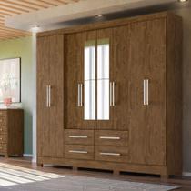 Guarda Roupa Casal 8 Portas 4 Gavetas com Espelho San Lorenzo Castanho Wood - Vee Decor - Moval