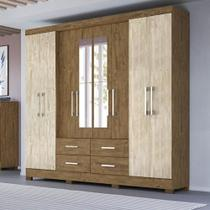 Guarda-Roupa Casal 8 Portas C/ Espelho San Lorenzo Castanho Wood - Avelã - Moval -
