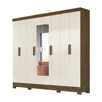 Guarda Roupa Casal 8 Portas Com Espelho Diplomata Castanho Wood Baunilha Moval -