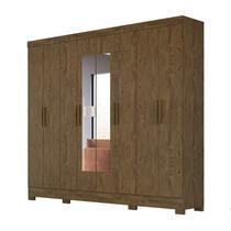 Guarda Roupa Casal 8 Portas Com Espelho Diplomata Castanho Wood Moval -