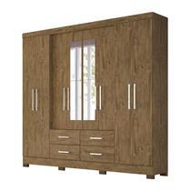 Guarda Roupa Casal 8 Portas Em MDF Com Espelho San Lorenzo Plus Castanho Wood Moval -