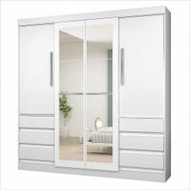 Guarda-Roupa Casal Atraente 4 Portas 6 Gavetas com Espelho Araplac -