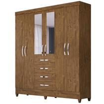 Guarda Roupa Casal Avaí 6 Portas e Espelho Castanho Wood - Moval -