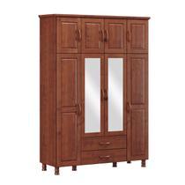 Guarda-Roupa Casal Bipartido Linha Bronze Imbuia 08 Portas Espelhos e 2 Gavetas Madeira Maciça Pinus - Finestra -