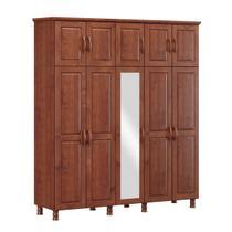 Guarda-Roupa Casal Bipartido Linha Bronze Imbuia 10 Portas Espelhos e 03 Gavetas Internas Madeira Maciça Pinus - Finestra -