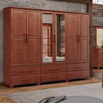 Guarda-Roupa Casal Bipartido Linha Ouro Imbuia 6 Portas Espelhos e 6 Gavetas Madeira Maciça Pinus - Finestra -