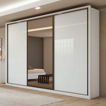 Guarda Roupa Casal com 01 Espelho 3 Portas 6 Gavetas Spazio Glass Branco - Lopas -