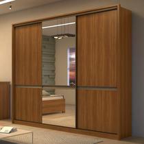 Guarda Roupa Casal com 2 Espelhos 3 Portas 6 Gavetas Urban Glass Móveis Lopas Rovere Naturale/Off White/Rovere Naturale -