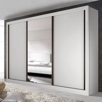Guarda Roupa Casal com 3 Espelho 3 Portas Yescasa Branco -