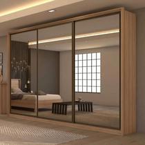 Guarda Roupa Casal com 3 Espelhos 3 Portas de Correr 6 Gavetas Spazio Super Glass carvalho Móveis Lopas -