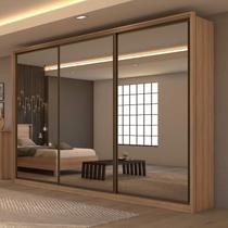 Guarda Roupa Casal com 3 Espelhos 3 Portas de Correr 6 Gavetas Spazio Super Glass Móveis Lopas Carvalho Naturale -
