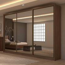 Guarda Roupa Casal com 3 Espelhos 3 Portas de Correr 6 Gavetas Spazio Super Glass Móveis Lopas Imbuia Naturale -