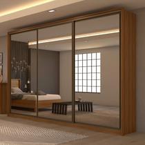 Guarda Roupa Casal com 3 Espelhos 3 Portas de Correr 6 Gavetas Spazio Super Glass Móveis Lopas Rovere Naturale -