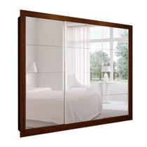 Guarda-Roupa Casal com 3 Espelhos Helena 3 PT 6 GV Marrom e Branco 242 cm - Mobly
