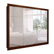 Guarda-Roupa Casal com 3 Espelhos Helena 3 PT 6 GV Marrom e Branco 277 cm - Mobly