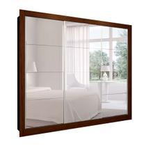 Guarda-Roupa Casal com 3 Espelhos Helena 3 PT 8 GV Marrom e Branco 242 cm - Mobly