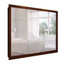 Guarda-Roupa Casal com 3 Espelhos Helena 3 PT 8 GV Marrom e Branco 277 cm - Mobly