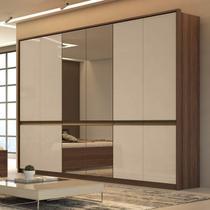 Guarda Roupa Casal com 4 Espelhos 6 Portas 6 Gavetas Urban Glass Móveis Lopas Imbuia Naturale/Off White -