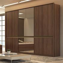 Guarda Roupa Casal com 4 Espelhos 6 Portas 6 Gavetas Urban Glass Móveis Lopas Imbuia Naturale -