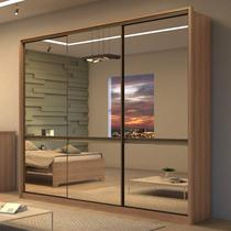 Guarda Roupa Casal com 6 Espelhos 3 Portas 6 Gavetas Urban Super Glass Móveis Lopas Carvalho Naturale/Off White/Carvalho Naturale -