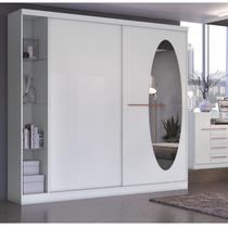 Guarda Roupa Casal com Espelho 2 Portas e Prateleiras em Vidro F537 Kappesberg Branco -