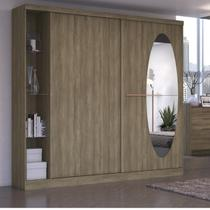 Guarda Roupa Casal com Espelho 2 Portas e Prateleiras em Vidro F537 Kappesberg Nogal -