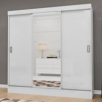 Guarda Roupa Casal com Espelho 3 Portas 2 Gavetas Istambul Espresso Móveis Branco -