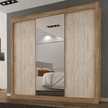 Guarda Roupa Casal com Espelho 3 Portas 3 Gavetas Flex Color Smart Espresso Móveis Ipê Tex/Vanilla Tex -