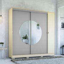 Guarda Roupa Casal com Espelho 3 Portas 3 Gavetas Pop Kappesberg Pine/Cinza -