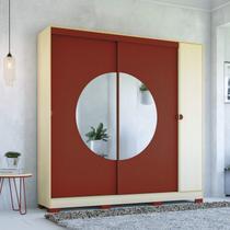 Guarda Roupa Casal com Espelho 3 Portas 3 Gavetas Pop Kappesberg Pine/Marsala -