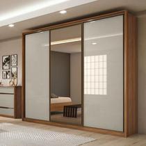 Guarda Roupa Casal com Espelho 3 Portas 6 Gavetas Spazio Glass Lopas Rovere Naturale/Off White/Rovere Naturale -