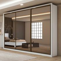 Guarda Roupa Casal com Espelho 3 Portas 6 Gavetas Spazio Super Glass Móveis Lopas Branco -