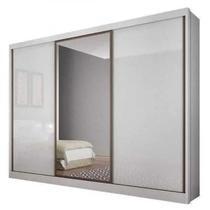 Guarda Roupa Casal Com Espelho 3 Portas 6 Gavetas Spazzio Novo Horizonte Branco -