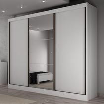 Guarda Roupa Casal com Espelho 3 Portas 6 Gavetas Toulon Espresso Móveis Branco -