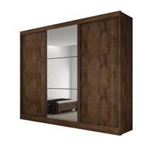 Guarda Roupa Casal com Espelho 3 Portas 6 Gavetas Toulon Novo Horizonte Canela -